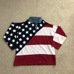 Vintage American flag cutout top, size M